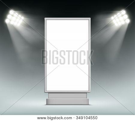 Street Advertising Blank Lightbox. Vertical Format Billboard Template. Vector Background