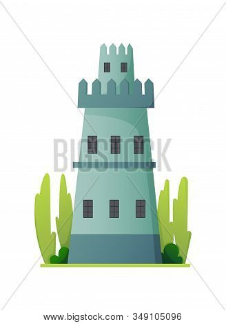 Flat Vector Fairy Tale Castle. Medieval Palace With High Tower And Conical Roof. Fortress Or Strongh