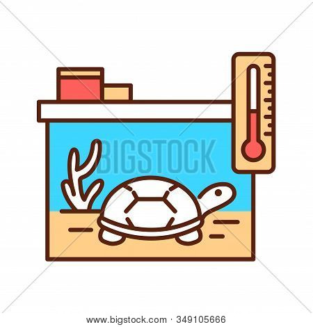 Reptile Care Color Line Icon. Improving The Life Of Reptiles. Actions Aimed At Their Care. Pictogram