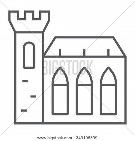 Dublin Castle Thin Line Icon, St Patricks Day And Holiday, Ireland Castle Sign, Vector Graphics, A L