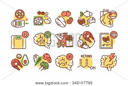 Ketogenic Diet Color Line Icons Set. Very Low-carb, High-fat Diet. Reducing Carbohydrate Intake And