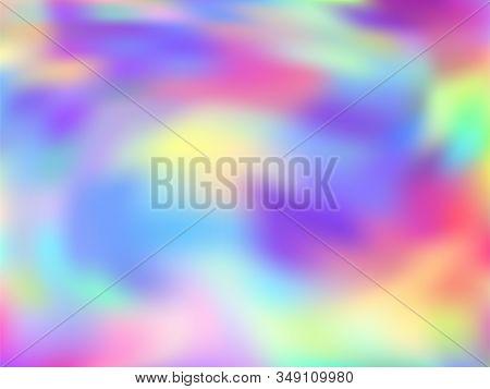 Holographic Gradient Neon Vector Illustration. Simple Rainbow Spectrum Background. Liquid Colors Exp