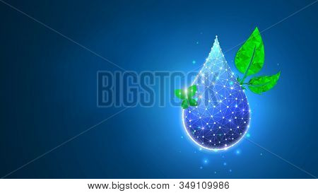 Water Drop, Clean Droplet Of Water With Butterfly And A Leaf. Green Planet Concept. Abstract Polygon