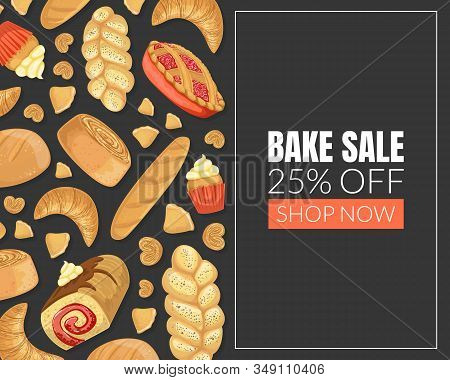 Bake Sale Card Template With Baking Products Seamless Pattern, Element Can Be Used For Bakery Shop,