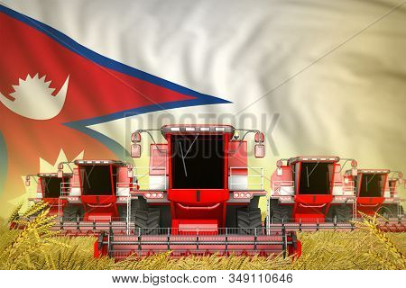 Industrial 3d Illustration Of Some Red Farming Combine Harvesters On Rural Field With Nepal Flag Bac