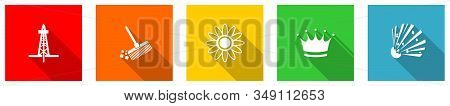 Set Of Colorful Web Flat Design Vector Icons, Oil, Gas, Brush And Crown Buttons In Eps 10 For Webdes
