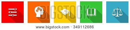 Set Of Colorful Web Flat Design Vector Icons, Education, University, College And School Buttons In E