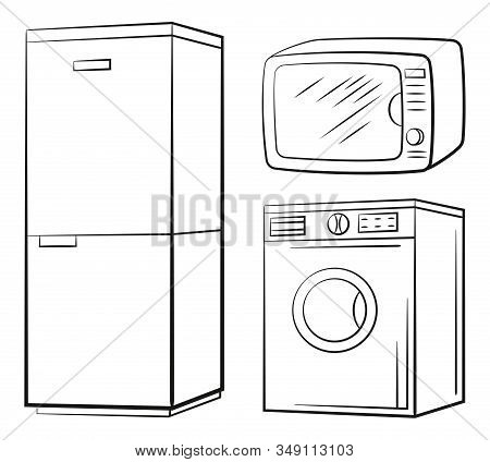 Group Of Technical Equipment Icons. Refrigerator, Washing Machine, Microwave. Black Pictograms Isola
