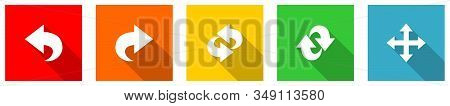 Set Of Colorful Web Flat Design Vector Icons,  Arrow, Right, Next And Direction Buttons In Eps 10 Fo