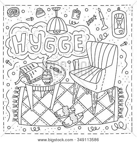 Vector Illustration In Doodle Style With Lettering Hygge With The Image Of A Cozy Room With An Armch
