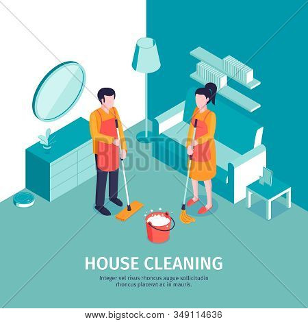 Isometric Cleaning Background With Editable Text And Indoor Scenery With Furniture And Characters Of