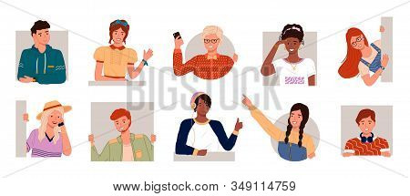 Set Of Pictures With Men And Women. People Posing With Different Emotions Isolated. Young Teens And