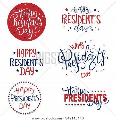 Happy Presidents Day Lettering Set With 3d Realistic Stars. Vector Illustration Hand Drawn Text For