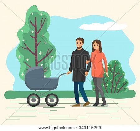 Parents With Child In Baby Pram Have Walk In Park. Mom Roll Pram With Newborn Inside. Stroll On Fres