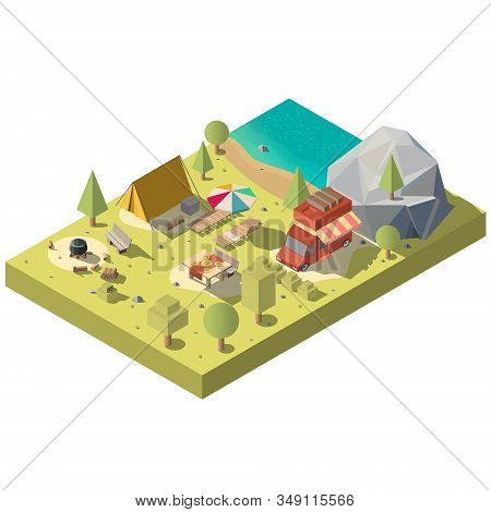 3d Isometric Territory For Camping Near The Beach. Camp With Tent, Van And Chaise-longue - Picnic On