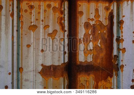Steel Sheet Metal With Rust, Silver Background, Roofing And Roofing, Corrugated Board