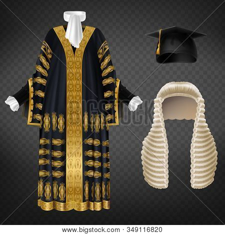 Black Court Gown With Gold Decorative Embroidery, Long Wig With Curls And Mortarboard Cap, Isolated