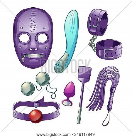Adults Sex Toys, Accessories For Bdsm Role Play Cartoon Set With Dildo Or Vibrator, Latex Face Mask,