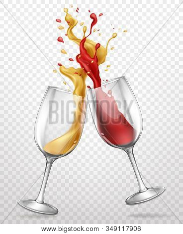 Cheers Realistic Concept With Red And White Wine Splashing, Spilling From Clinking Glass Wineglasses