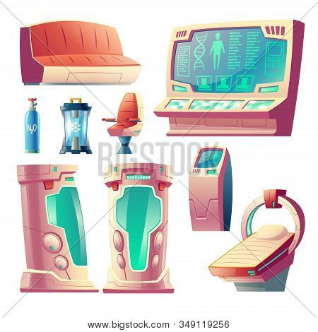 Cartoon Set With Futuristic Equipment For Hibernation, Empty Cryogenic Cameras For Sleeping In Space