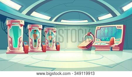 Human Cloning Or Dna Research In Secret Science Laboratory Carton Concept With Young Men Sleeping In