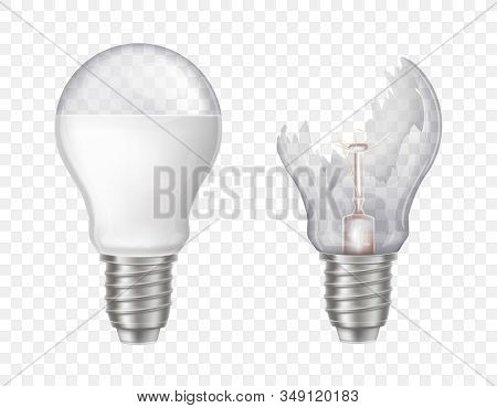 3d Realistic Electric Lightbulbs. Led Technology, Eco-friendly, Energy-efficient Innovation. Illumin