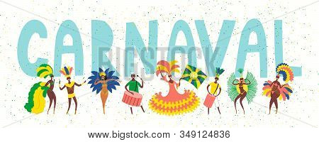 Hand Drawn Vector Illustration With Dancing People In Bright Costumes, Drummers, Portuguese Text Car