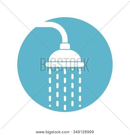 Shower Head Icon With Trickles Water. Douche Sign In The Circle Isolated On White Background. Shower