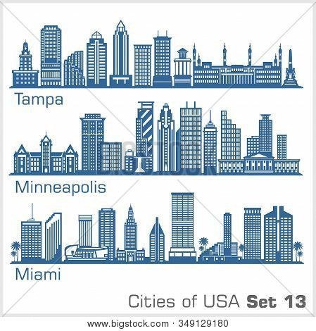 Cities Of Usa - Tampa, Minneapolis, Miami, . Detailed Architecture. Trendy Vector Illustration.