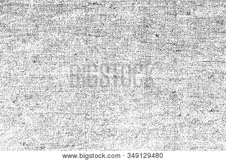 Old Rough Natural Burlap Grunge Overlay Texture. Vector Illustration Of Black And White Abstract Gru