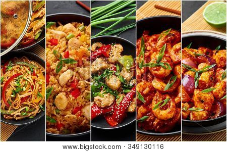 Food Collage. Indian Chinese Cuisine Dishes Set. Schezwan Noodles, Fried Rice, Chicken, Prawns And P