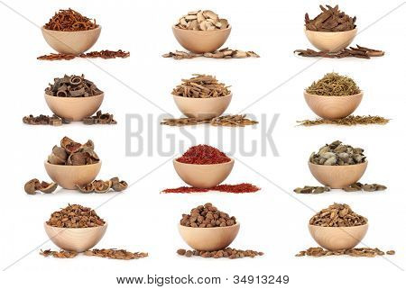 Collection of traditional chinese herbal medicine in beech wood bowls isolated over white background.
