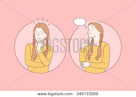 Thinking, Pupil, Dream Set Concept. Young Pensive Girl Has Question And Thinking About Problem. Happ