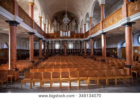 December 19th, 2019-zurich, Switzerland. Interior Of The St. Peter Church Evangelical-reformed Churc