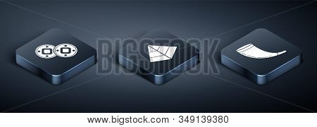 Set Isometric Jewish Coin, Traditional Ram Horn, Shofar And Egypt Pyramids Icon. Vector