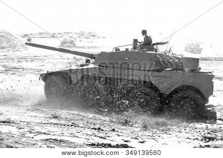 Bloemfontein, South Africa - November 1, 2008: A Rooikat Armoured Reconnaissance Vehicle, Driving In
