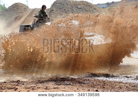 Bloemfontein, South Africa - November 1, 2008: A Rooikat Armoured Reconnaissance Vehicle, Driving Th