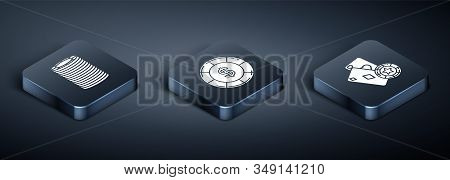Set Isometric Casino Chips, Casino Chip And Playing Cards And Casino Chip With Dollar Symbol Icon. V