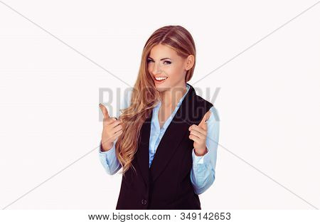 Hey You! Woman Pointing At Camera, Point Index Finger Gesture Isolated On Light Grey  White Backgrou