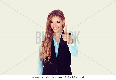 It's You! Portrait Smiling Business Woman Showing Finger At You Camera, Showing Hand Gesture This Is