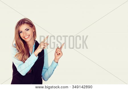 Look Here, Advertisement. Happy Woman Smiling Showing Look Here At Copy Space At My Text, Product Ge