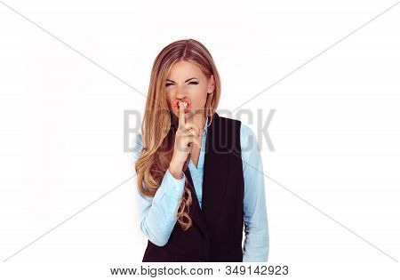 Woman Wide Eyed Asking For Silence Or Secrecy With Finger On Lips Hush Hand Gesture White Background