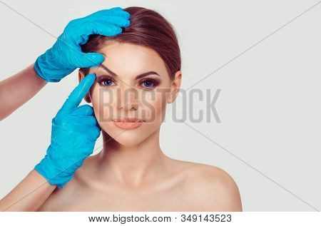 Upper Eyelid Blepharoplasty. Beautiful Middle Age Woman Getting Ready For Eyelid Lift Plastic Surger