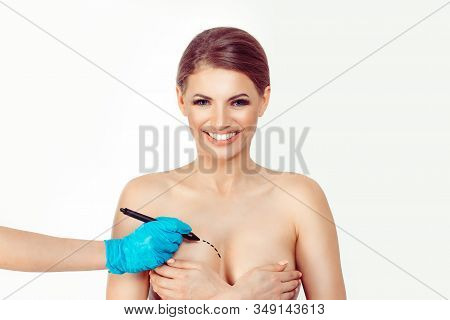 Smiling Woman Undergoes A Cosmetic Surgery Breast Augmentation Removal Reduction And She Is Happy Ab