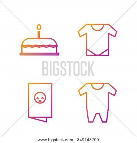 Set Line Baby Clothes, Baby Shower Invitations Card, Poster, Cake With Burning Candles And Baby Ones