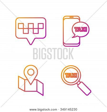 Set Line Magnifying Glass And Taxi Car, Folded Map With Location Marker, Map Pointer With Taxi And T