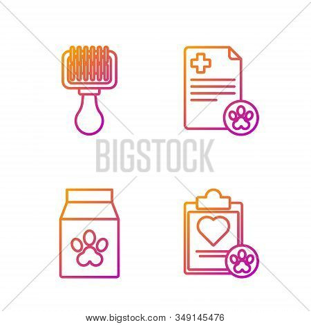 Set Line Clipboard With Medical Clinical Record Pet, Bag Of Food For Pet, Hair Brush For Dog And Cat