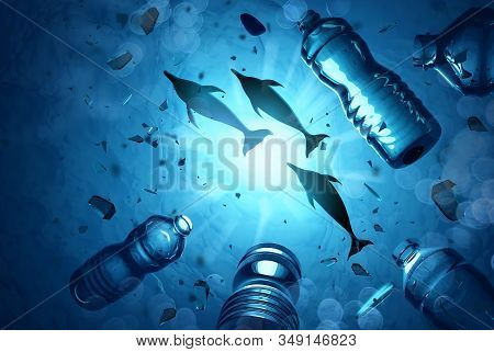 Dolphins Swimming In An Ocean Filled With Microplastics And Plastic Waste. Ocean Water Pollution Con