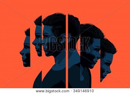 A Young Man Slpit Into Sections. Mental Wellbeing And Mens Issues Concept.vector Illustration