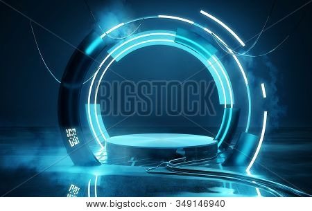 Empty Blue Neon Futuristic Lighting Stage And Platform, Product Placement 3d Illustration.